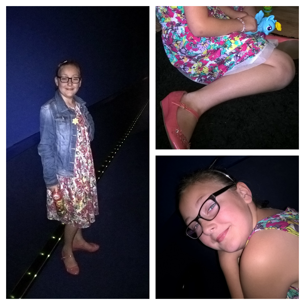 girls day out collage of girl in cinema wearing flowery dress and denim jacket