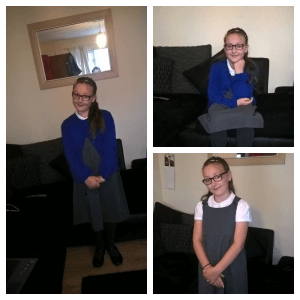 back to school collage of girl in uniform