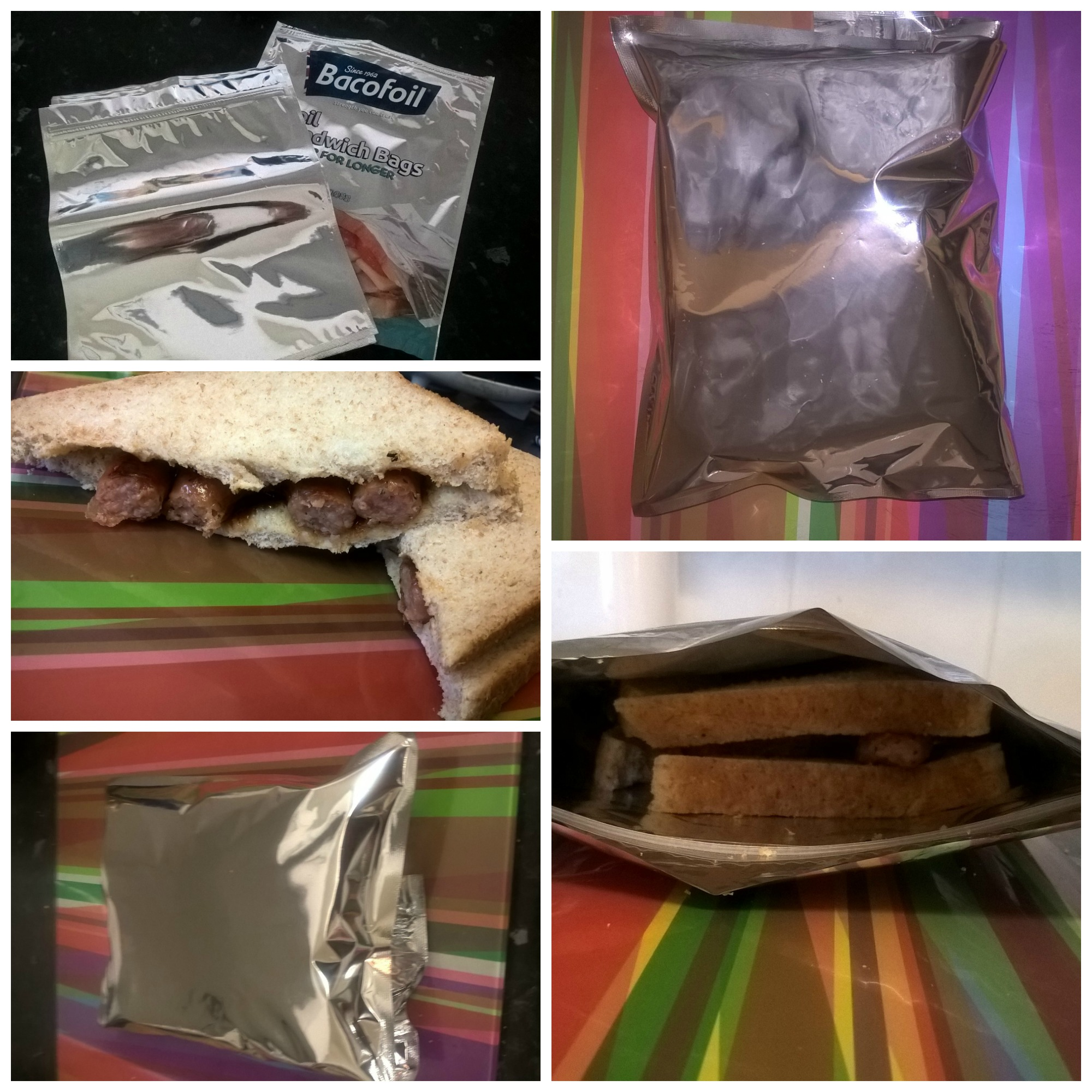 collage of bacofoil foil sandwich bags review