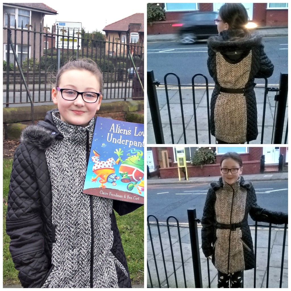 girl wearing a new coat collage of different angle wearing coat
