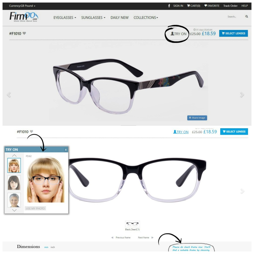 screen shot for ordering glasses online with firmoo