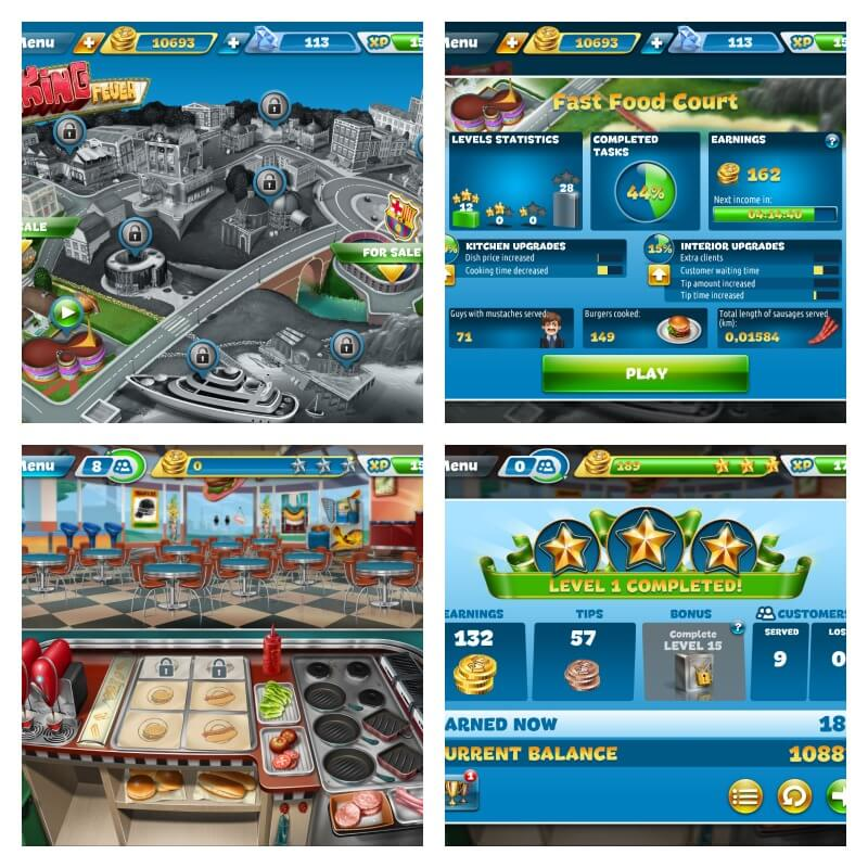 cooking fever app collage of game play