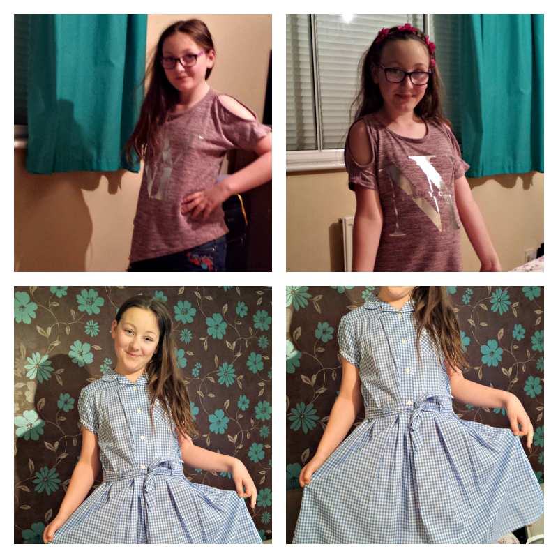 when we went shopping olivia collage with school dress