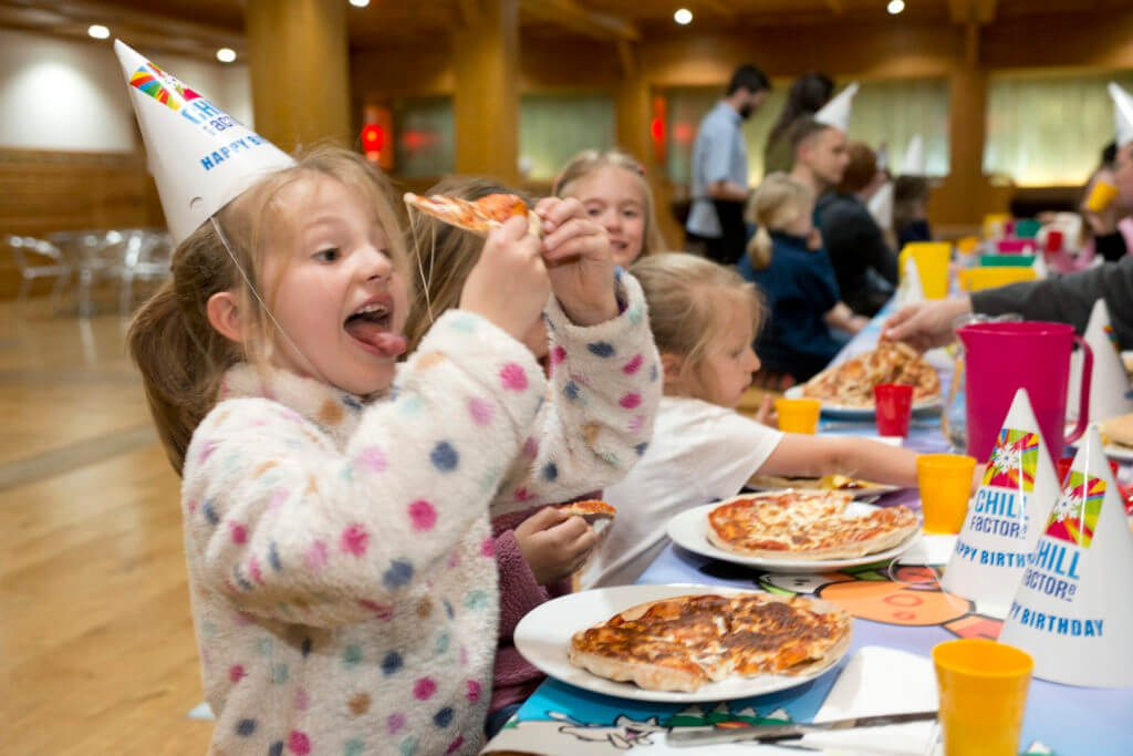 chill factore birthday parties meal options