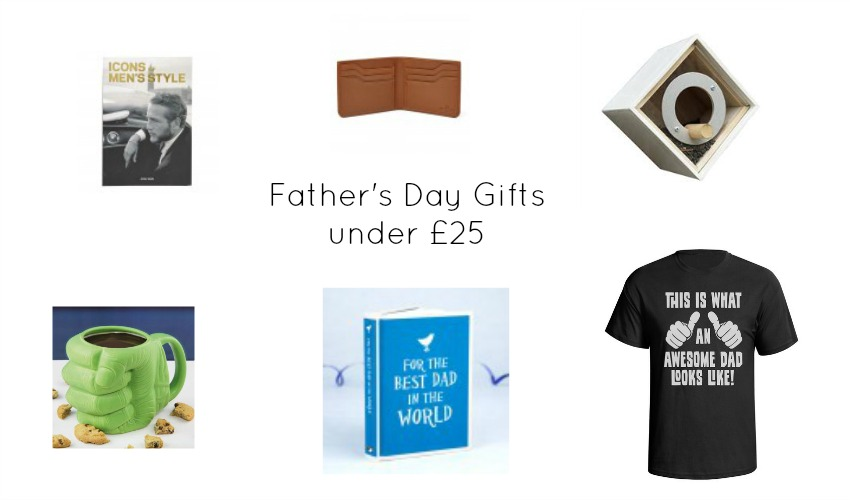 father's day gift guide for gifts under £25 including t shirts, mugs and wallets