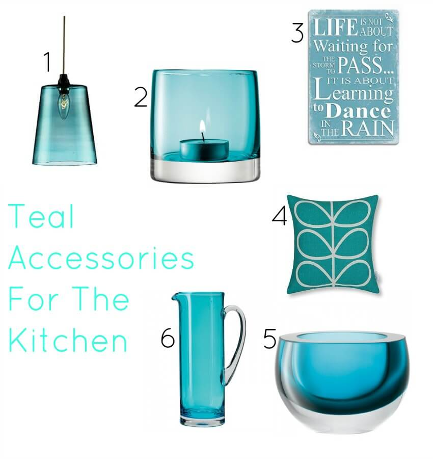 a teal kitchen wishlist accesries including light shade and vases