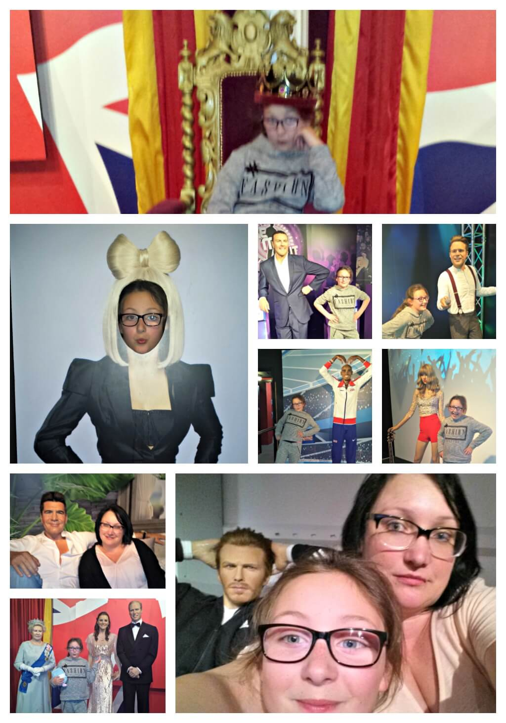 day trip round up pictures of mmyself and olivia with various waxworks at madame tussauds in blackpool