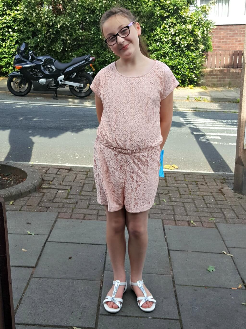 another school disco outfit olivia in a peach jumpsuit