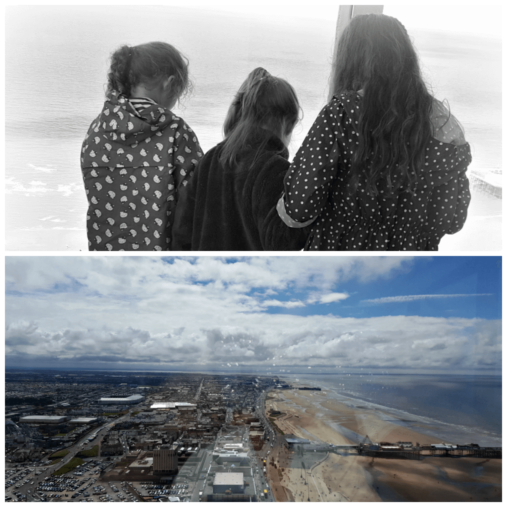blackpool really does have it all picture of girls enjoying the views from the top of the tower