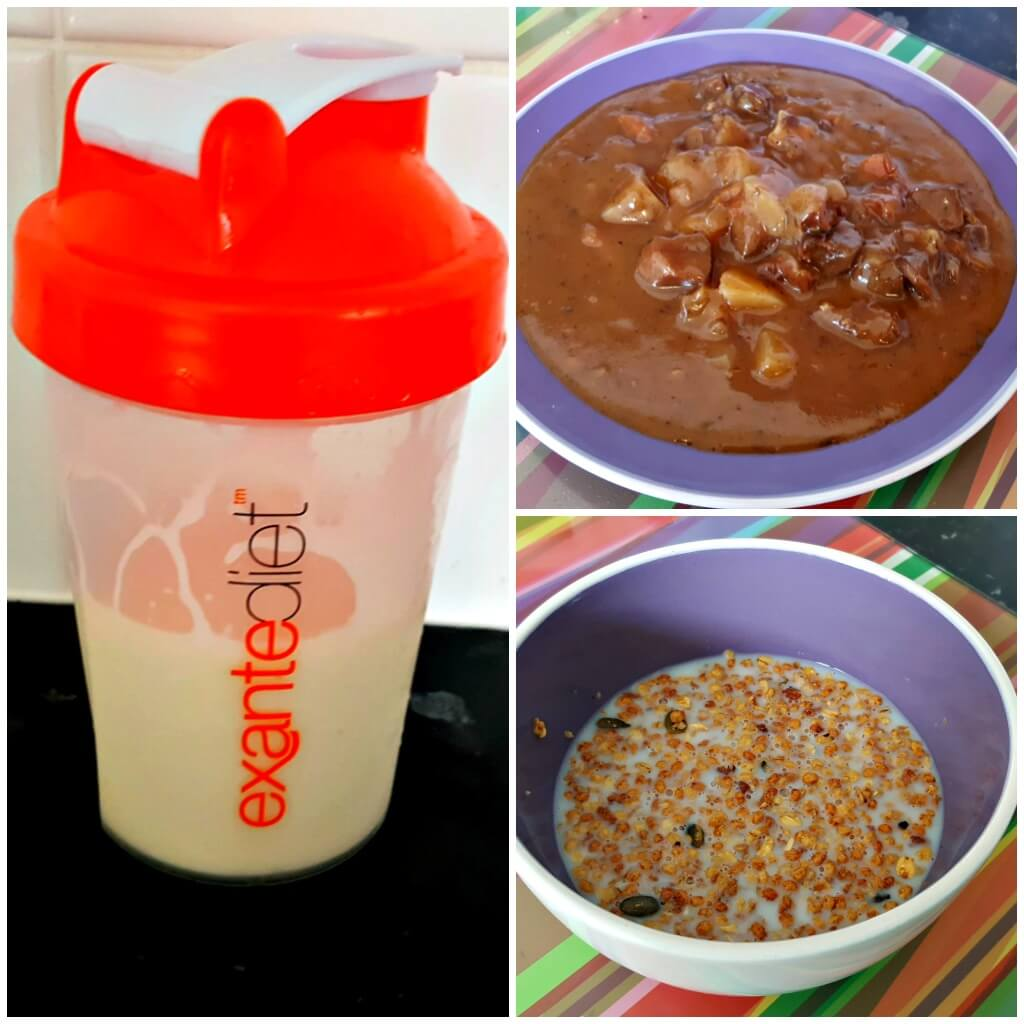 weight management made easy with exante diet shake, beef stew and granola