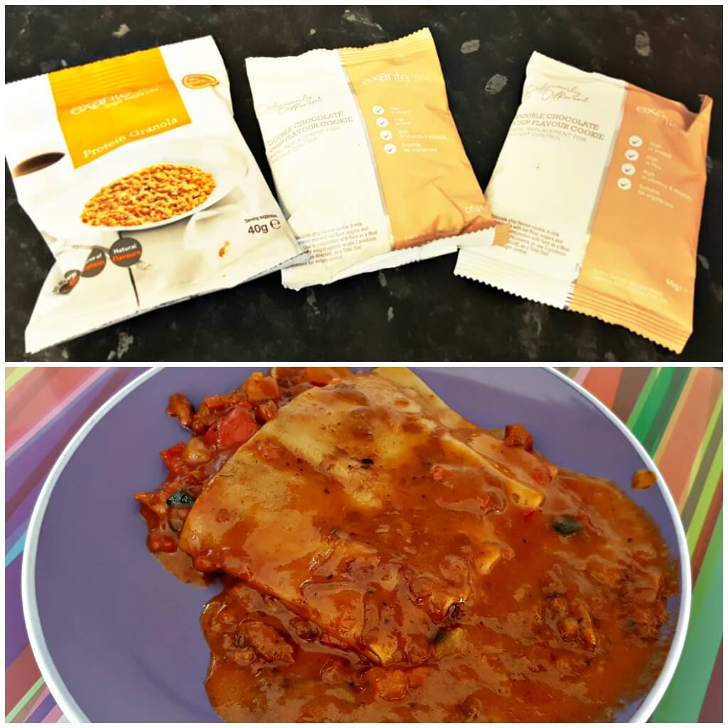 weight management made easy with exante picture of vegetarian lasagna and choc chip cookie