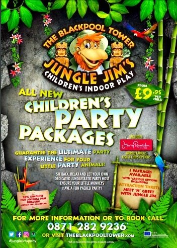 birthday parties at jungle jim's advertisement poster