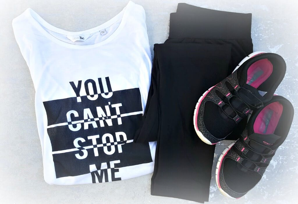 working out with simply be slogan vest tee leggings and trainers
