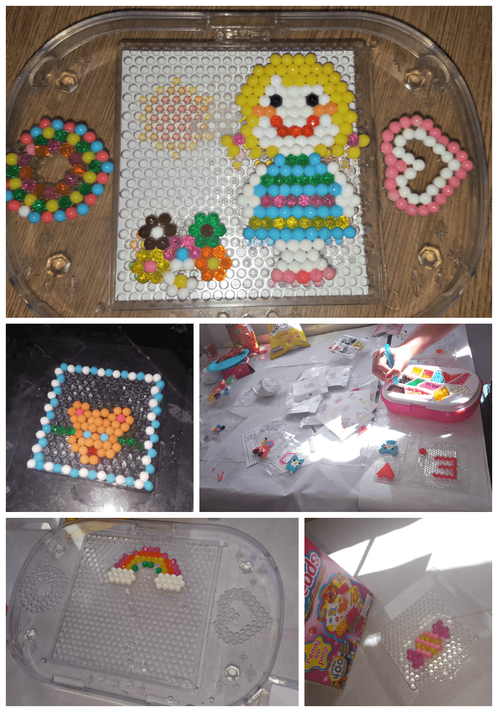 summer holiday party with aquabeads collage of designs made