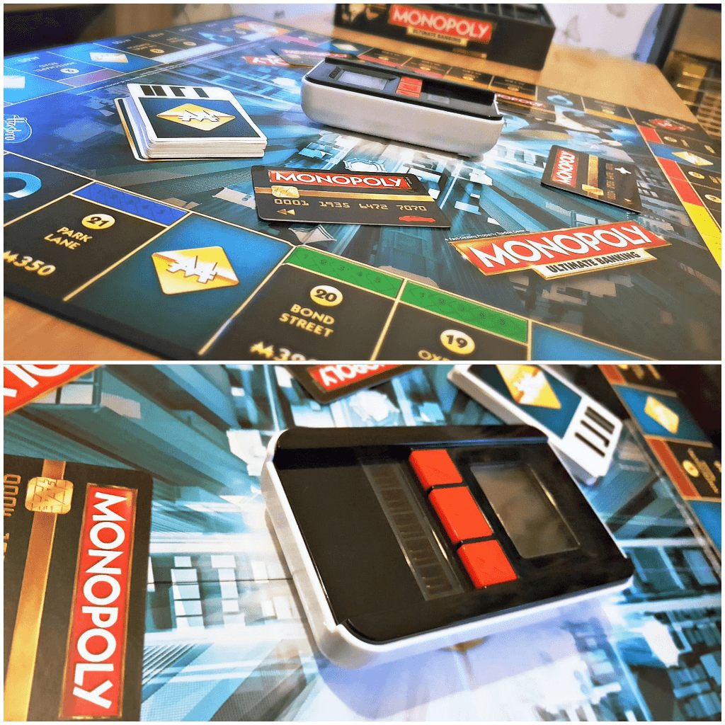 upping our game with monopoly ultimate banking picture of the board and banking unit set up