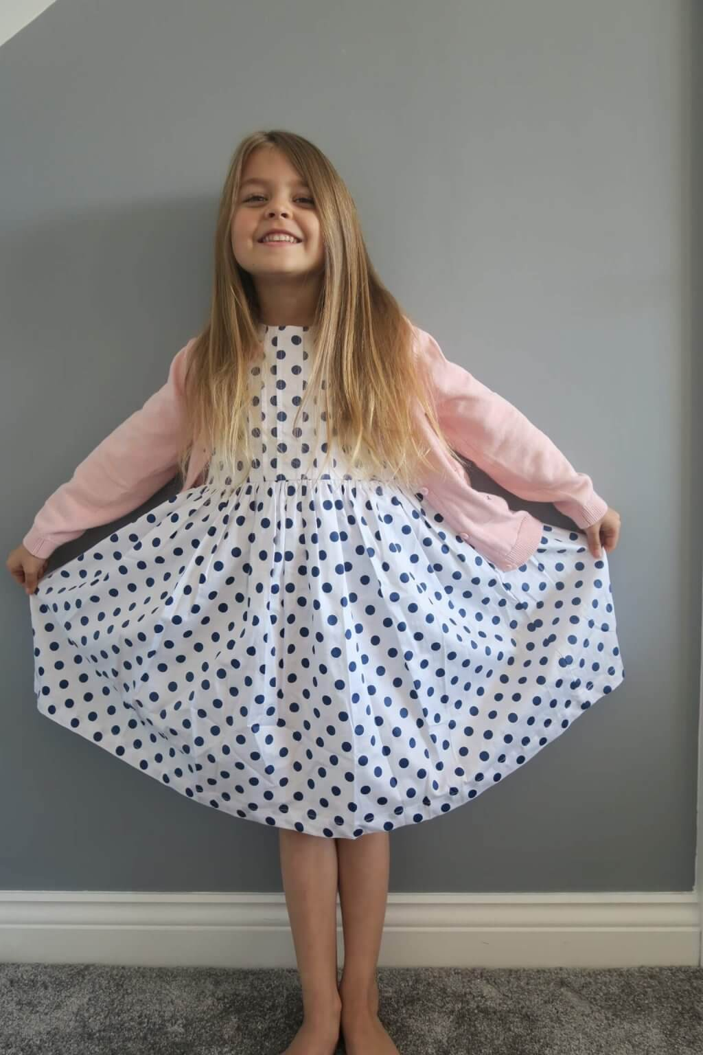 holly and jack's style girl wearing a spotty dress