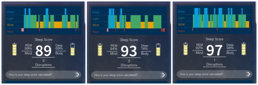 tracking my sleep with the S+ by ResMed screenshots of sleep charts