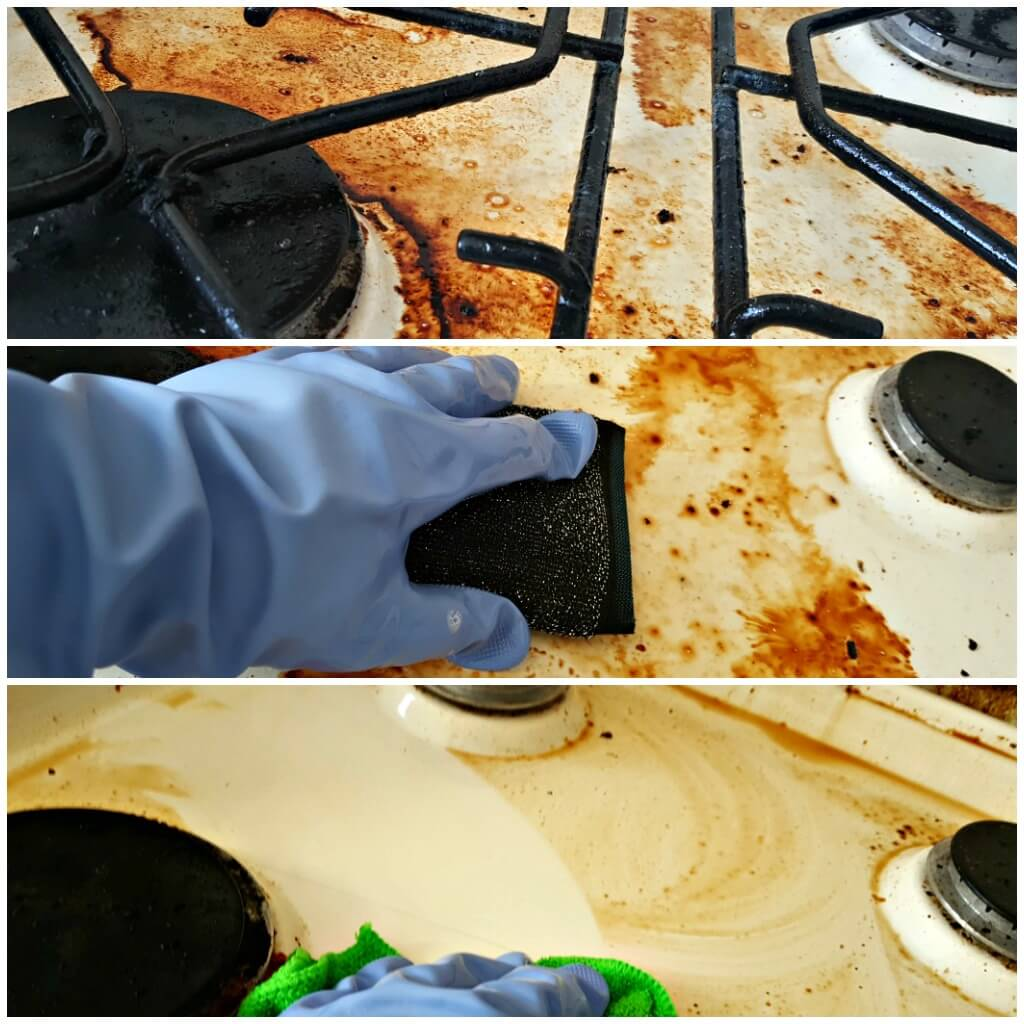 a before, during and after collage of cleaning a dirty cooker using marigold rubber gloves and scourer.