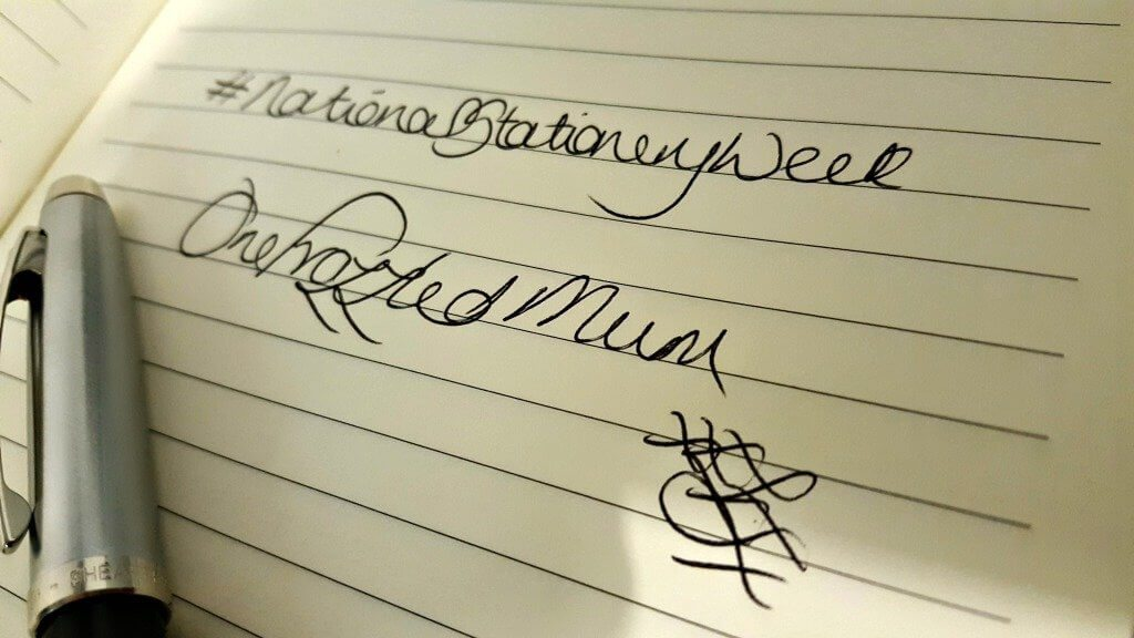 national stationery week handwritten signature of one frazzled mum