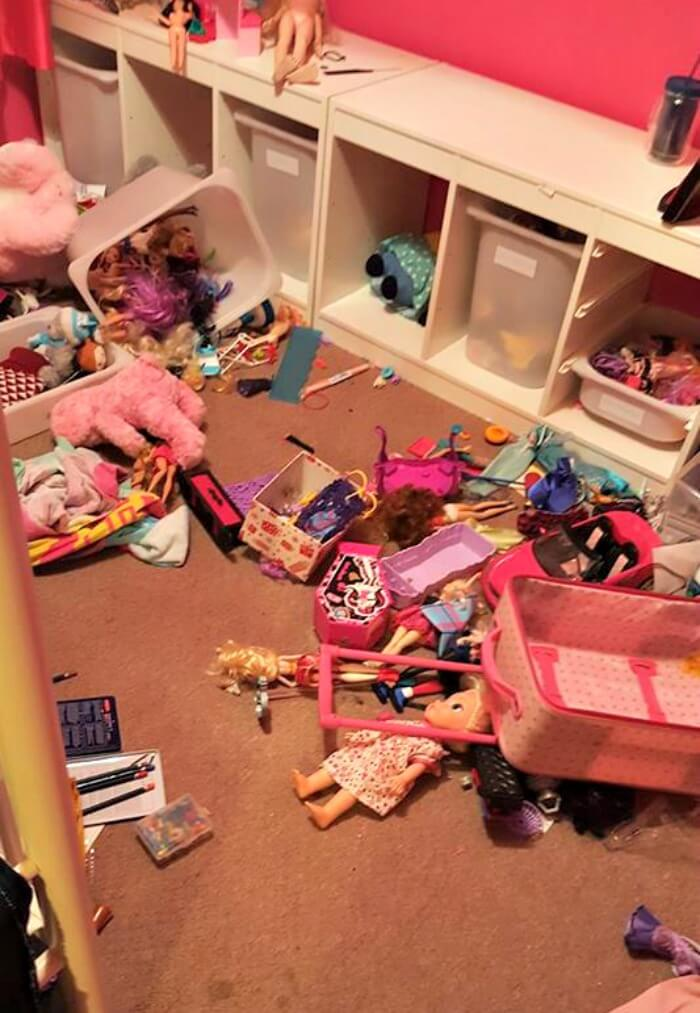 easy bedtime routine for kids picture of a messy kids bedroom floor