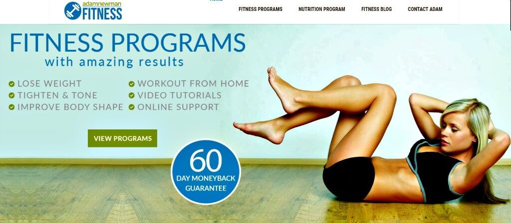 adam newman fitness review screen shot of website homepage