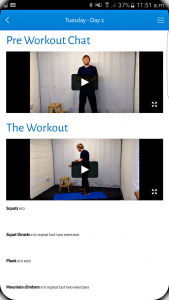 adam newman fitness review screenshot of the videos for the workouts