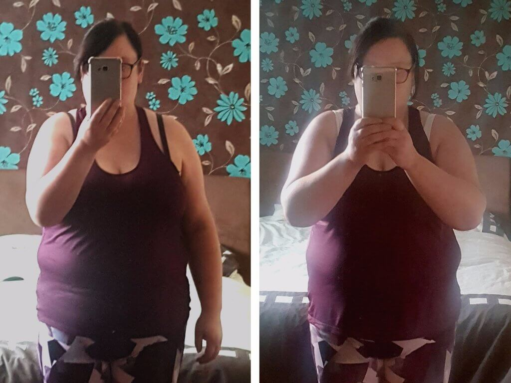 plus size active wear front before and after shots