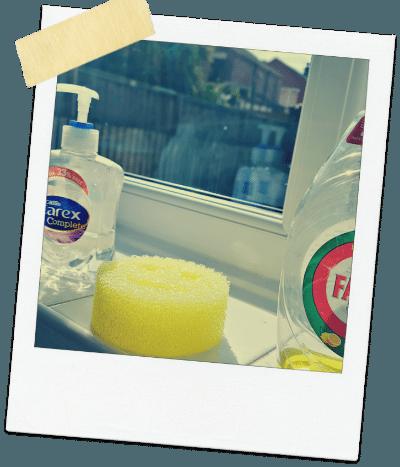 scrub daddy review yellow sponge on window sill