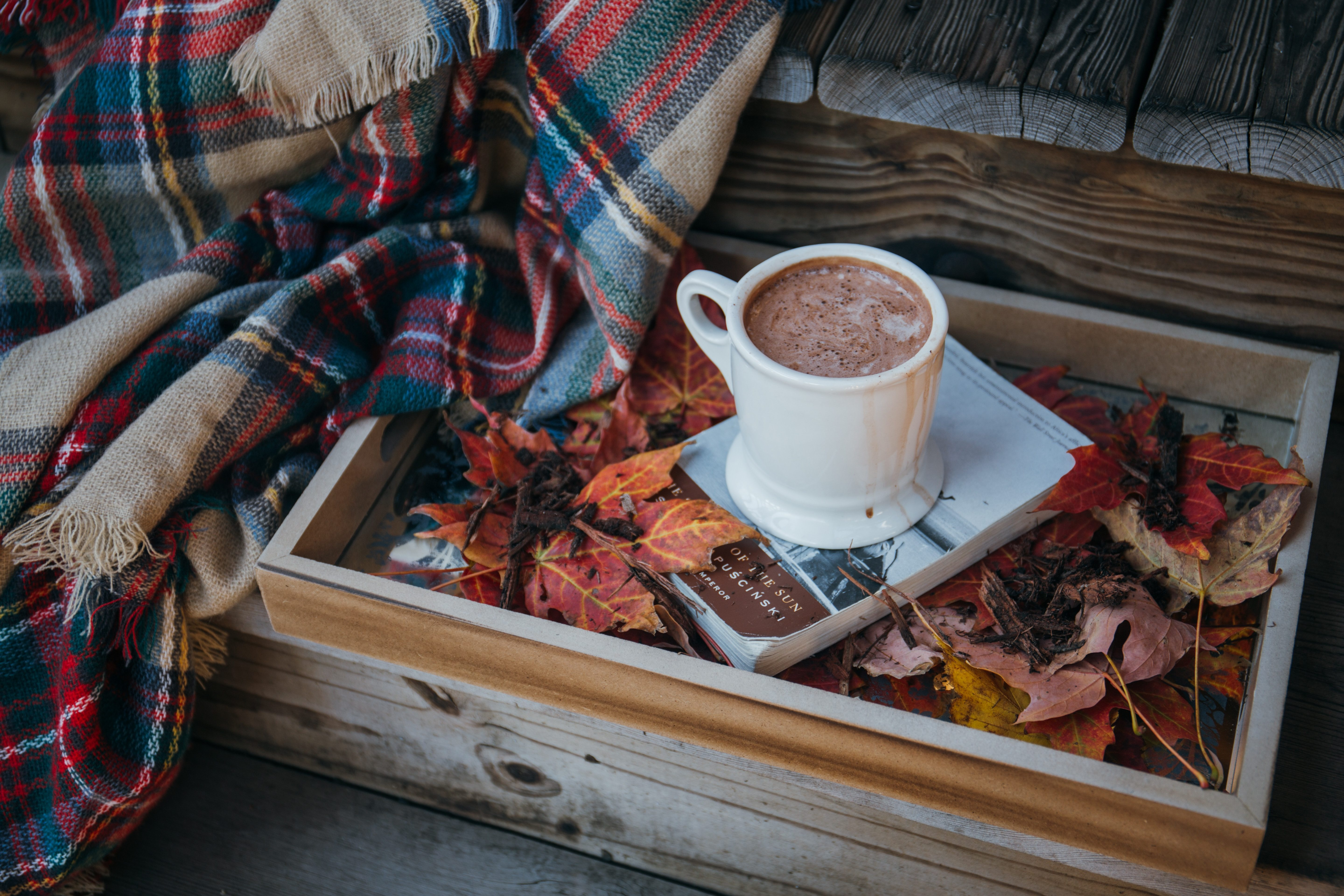 autumn home updates hot chocolate styled in a box of leaves