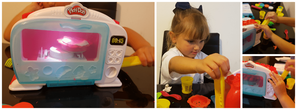 playdoh magical oven - girl playing with oven playset