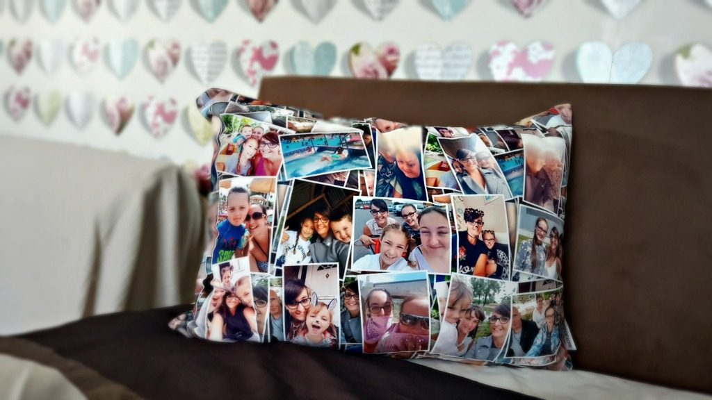 personalised photo cushion - cushion with photo collage on a bed