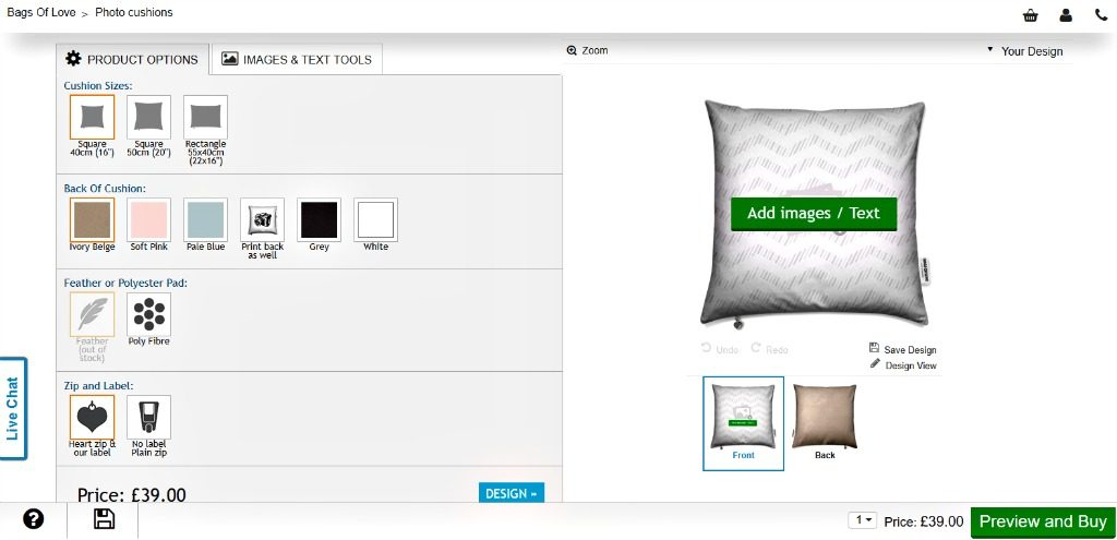 personalised photo cushion - screenshot of design process