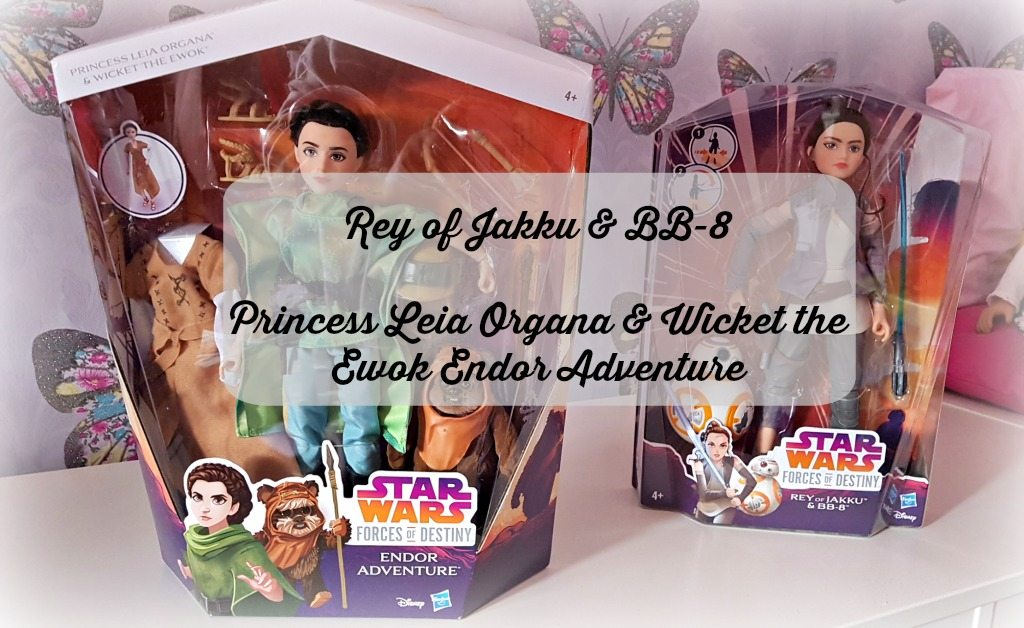 forces of destiny rey doll and princess leia organa in boxes