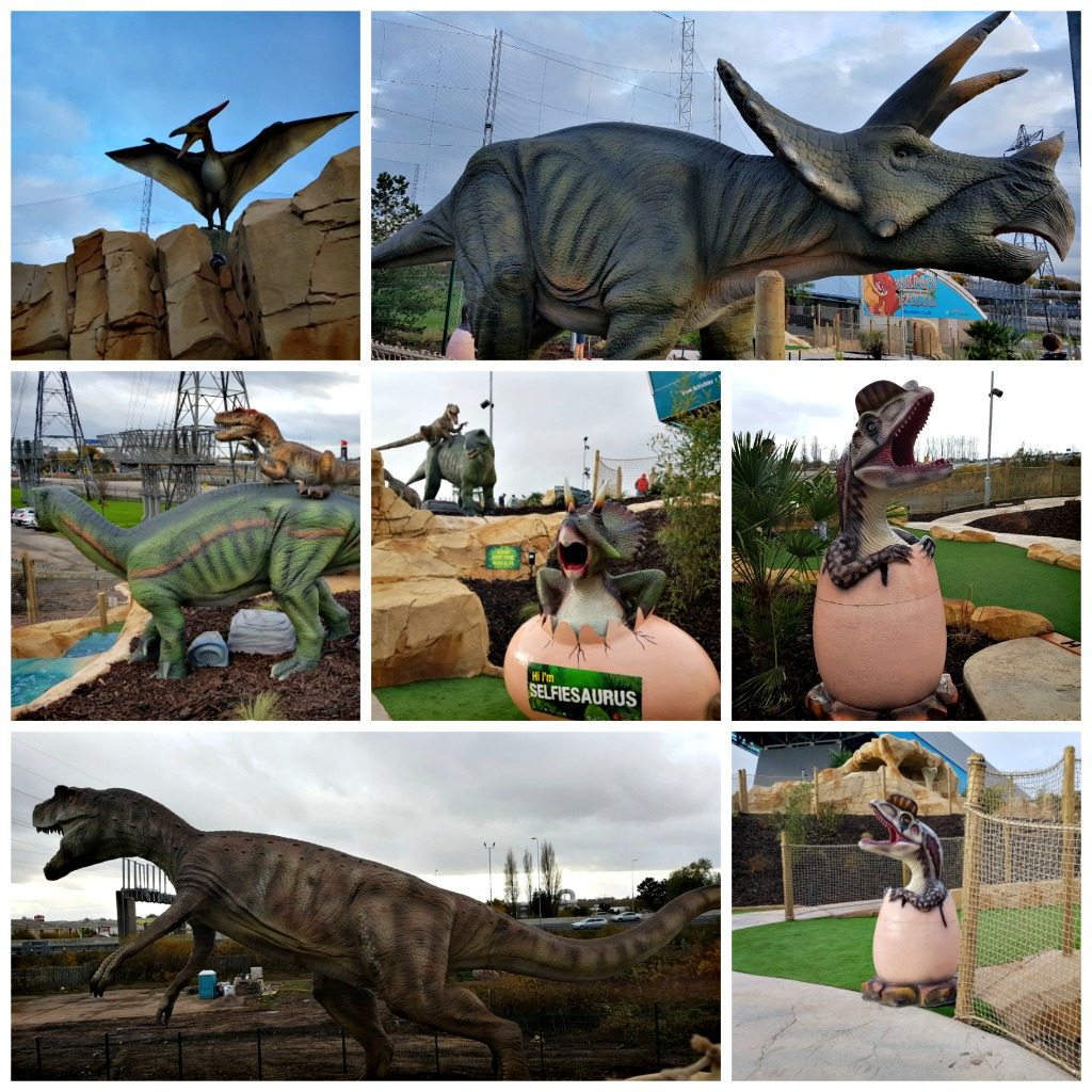 collage of images of various dinosaur statues and scenery at dino falls adventure golf, manchester