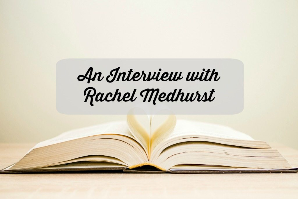open book with an interview with rachel medhurst caption on