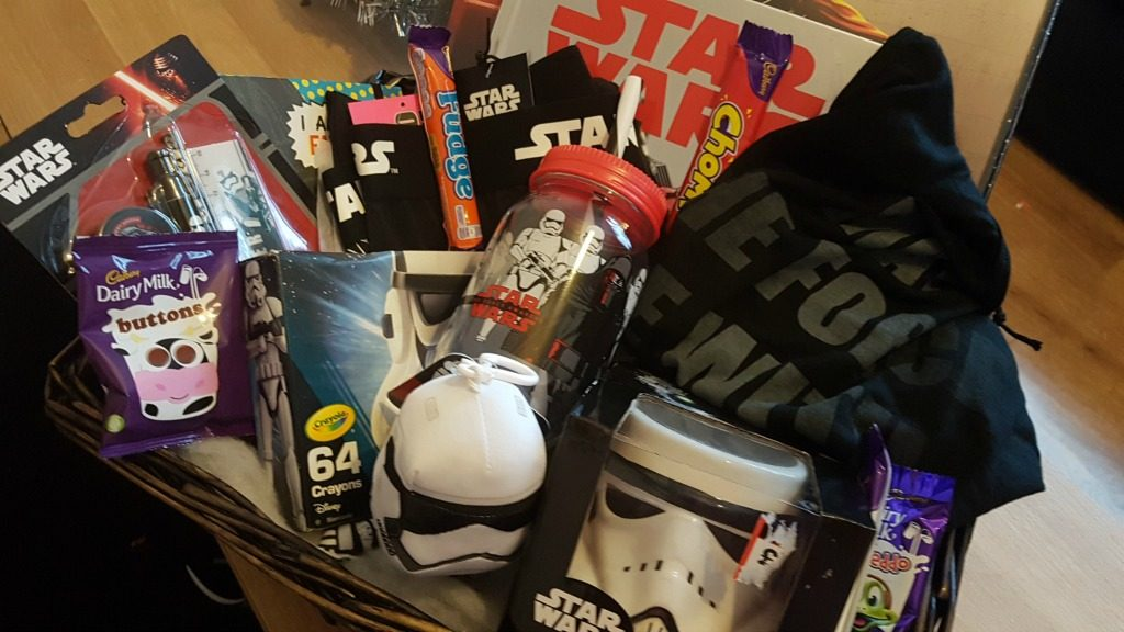star wars hamper basket with gifts and sweets