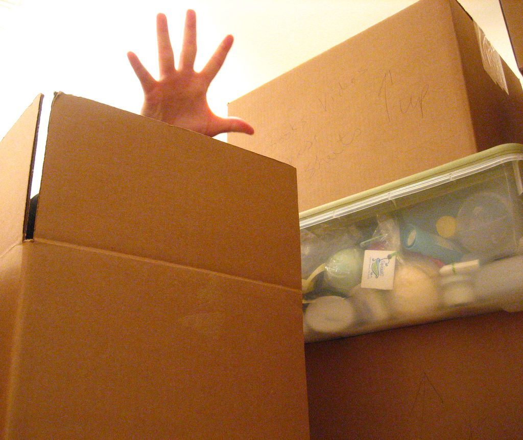 hand in packing box