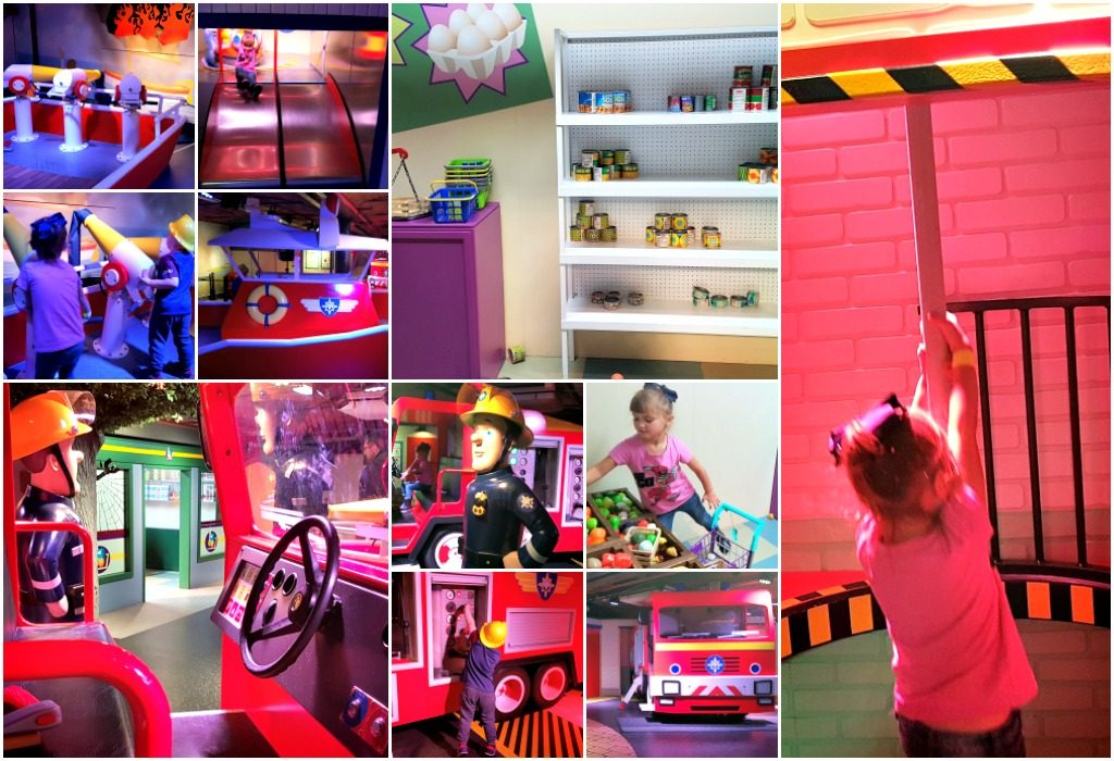collage of boy and girl playing in fireman sam zone at mattel play! liverpool