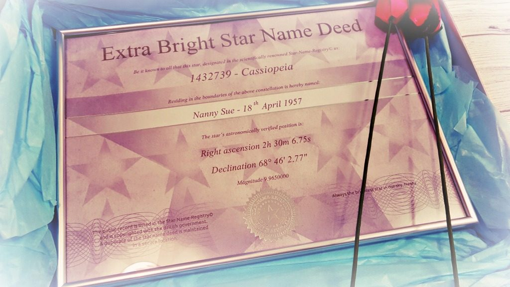 name a star gift set certificate in box