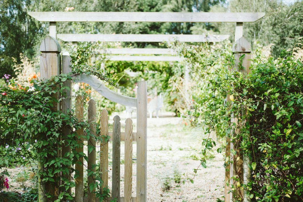wooden gate and shrubbery - appeal of your home