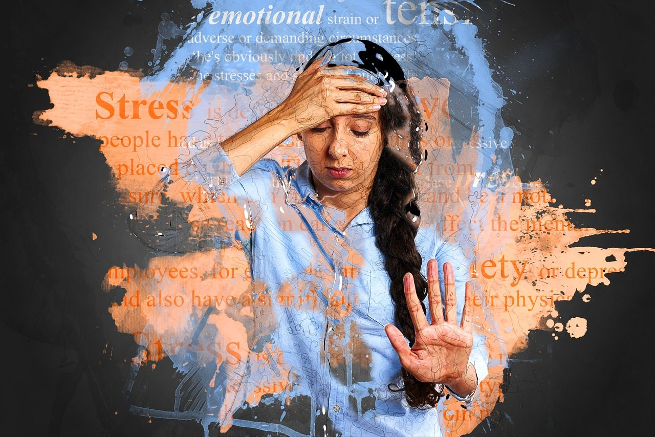 how to deal with stressful life events - woman with stress related words around her