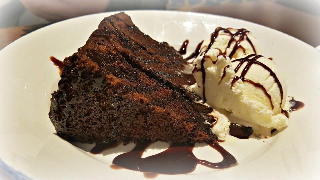 chocolate fudge cake with ice cream dessert at the swan, prenton