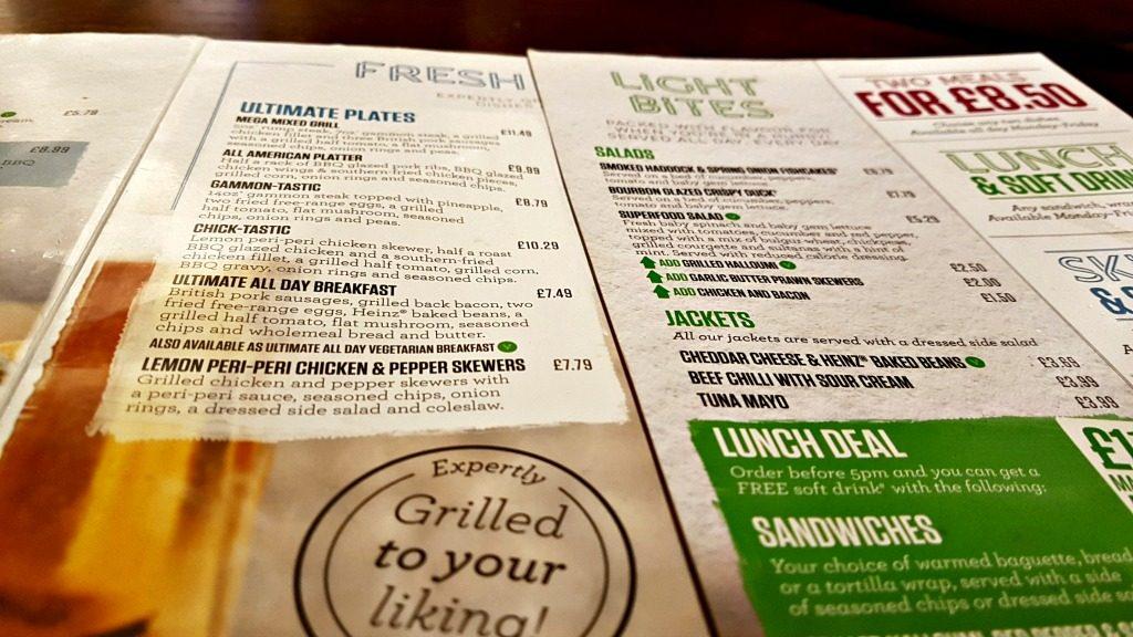 menu at the swan, prenton