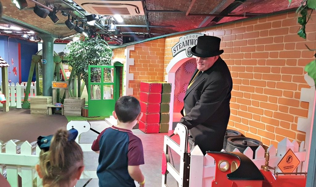 children and thomas the tank engine fat controller at mattel play! liverpool