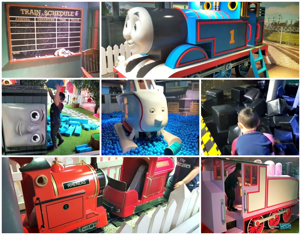 collage of kids playing in a thomas the tank engine themed zone at mattel play! liverpool