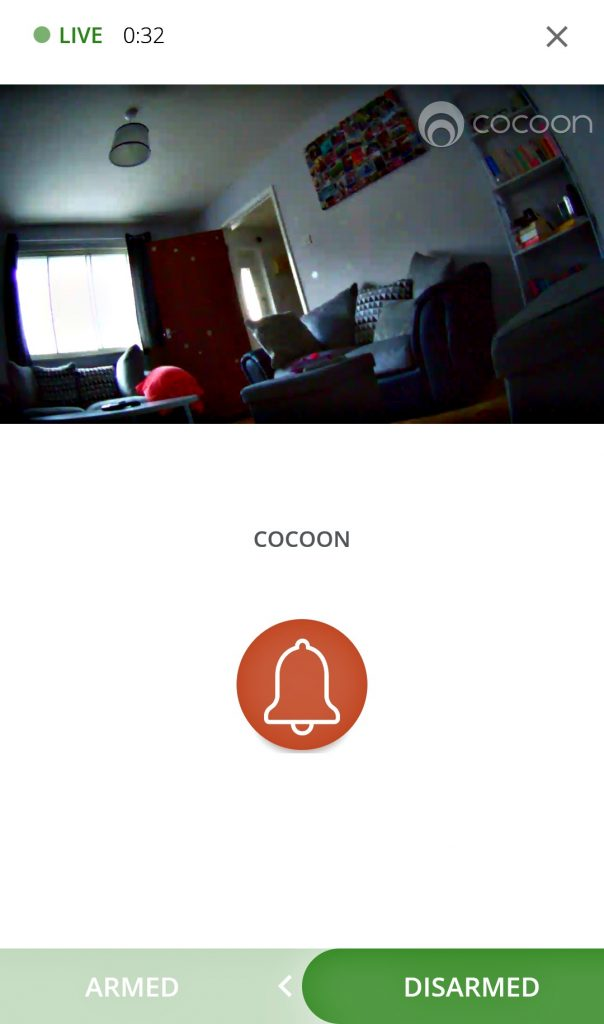 screenshot of a living room live video feed as seen on the cocoon security app