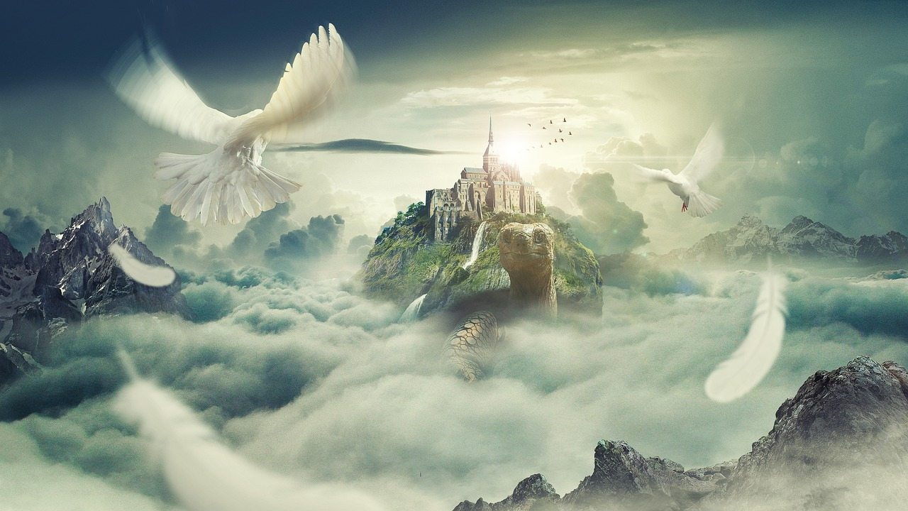 illustraion of a world inside a cloud formation with mythical birds flying around