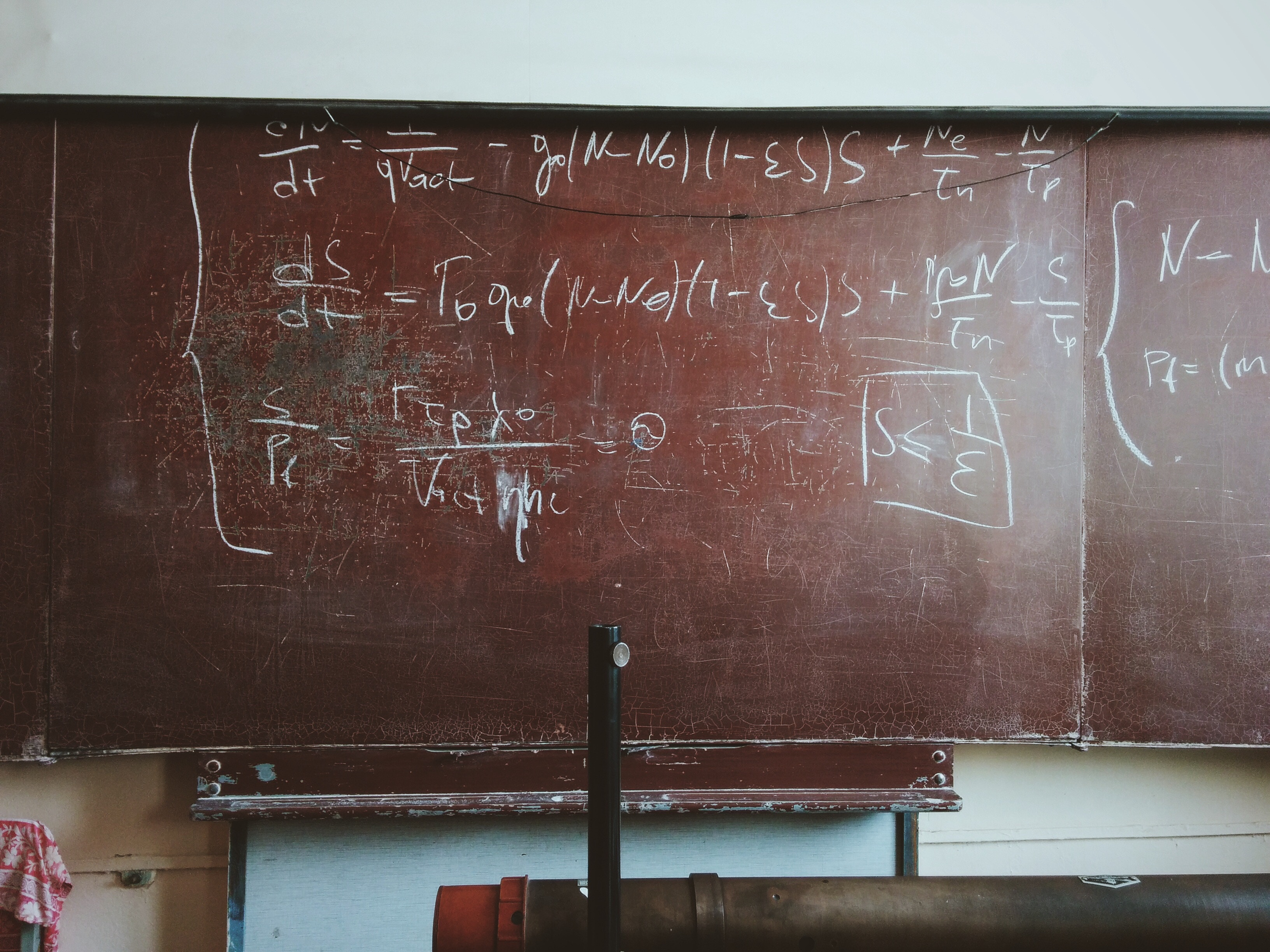 school chalkboard with mathematical equations