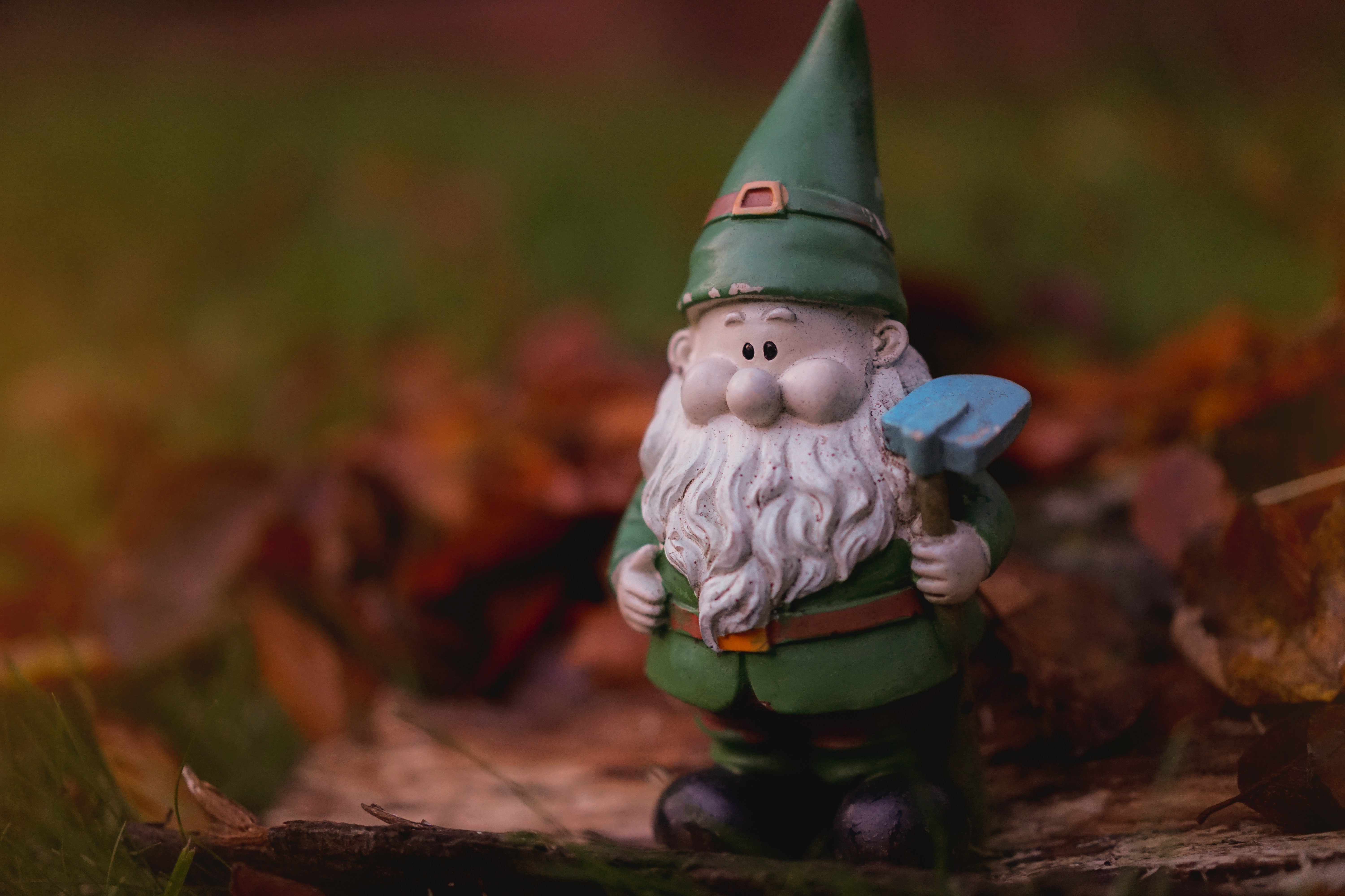 a green garden gnome with blurred leafy background
