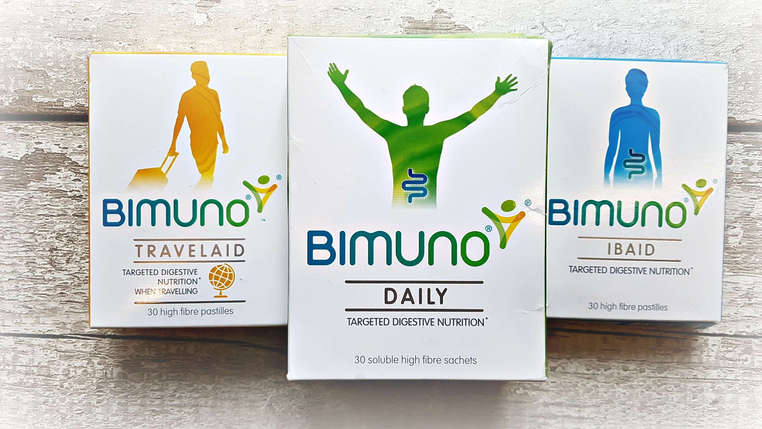3 boxes of bimuno products. the daily, travel aid and ibaid